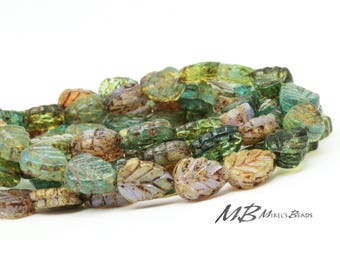 20 Teal, Green, Lavender Picasso Birch Leaf Beads with Copper, Czech Glass Beads, 10x8mm Beads