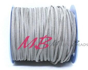 3mm Gray Ultra Micro Fiber Suede, 5 Yard Spool Faux Sued, 15 Feet Flat Cord For Jewelry Making