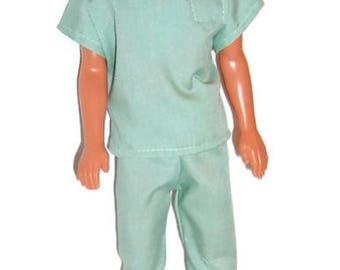 Light Green Scrub Set for Male Fashion Dolls