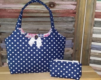Blue Dot Little Girls Purse Tote