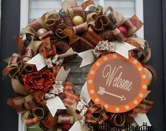 Elegant Fall Wreath, ThanksgivingWreath,  Autumn Door Wreath, Front Door Wreath, Welcome Door Wreath, Fall Floral Decor, Deco Mesh Wreath