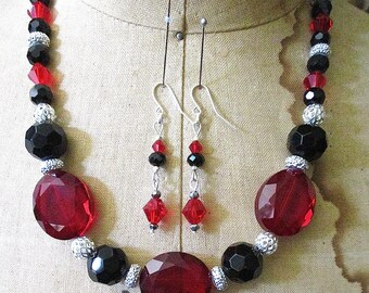 Ruby Princess Crystals and Sterling Beaded Necklace and Earrings