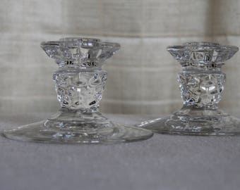 Vintage Clear Glass Candlesticks