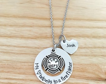 Firefighter wife, firefighter gift, fireman gift, hand stamped firefighters wife gift, Necklace, My heart belongs to a firefighter, Jewelry