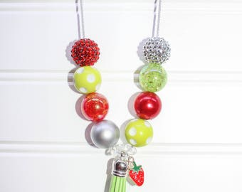Strawberry Tassel Necklace-Red Lime Green and Silver-Baby-Toddler-Girls-Women
