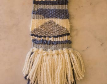 Chic tones of blue woven wall hanging
