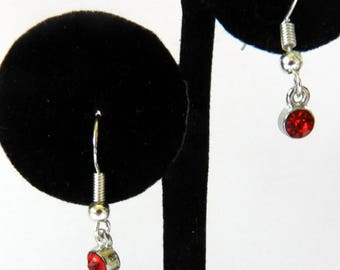 January Birthstone Dangling Earrings, Sterling Silver Pierced Earrings, Birthstone Jewelry, January Birthday Gift, Siam Red Color Crystal