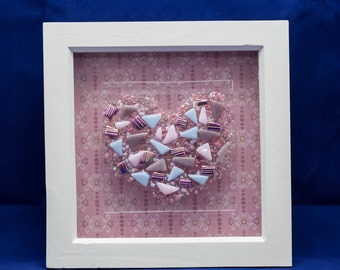 Unique Fused Glass 3D Picture With Dichroic Glass Heart