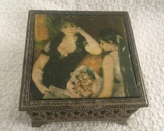 At the Concert by Renoir Trinket Box, Metal Filigree Trinket Box, Keepsake Box, 1950s, Red Velvet Lining, Satin Picture Jewel Box, Renoir