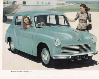 Hillman Minx Saloon British 50s car advert Sunbeam Talbot transport veteran motoring vintage print home office décor gift for him car lover