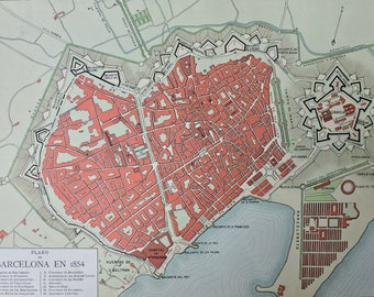 Barcelona map in 1854. Old book plate, 1910. Antique  illustration. 107 years lithograph. 9'4 x  12'5 inches.