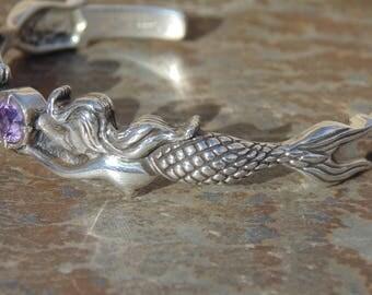 Vintage Sterling Silver and Amethyst Mermaid Cuff Bracelet