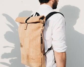 Cork Backpack Man, Backpack Woman, Cork Fabric Backpack, Design Backpack, Fashion Backpack, City Backpack, Gift for him, CORK FOLD BACKPACK