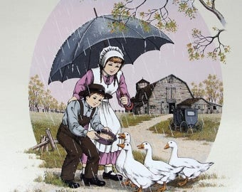 C. Carson Giclee Print on Canvas Children Feeding Geese in Rain Unstretched