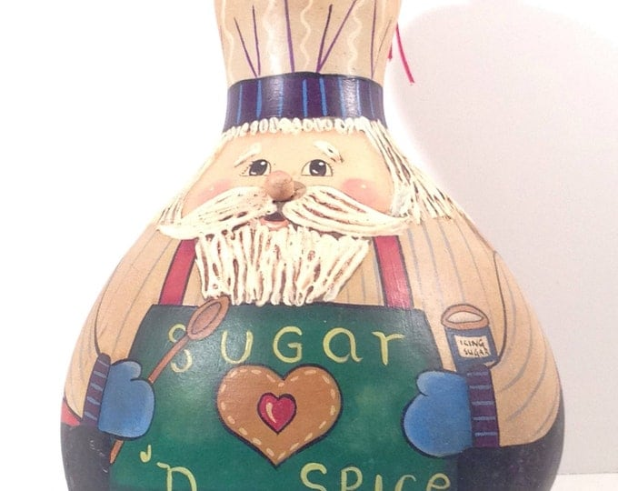 Chef Santa Gourd Acrylic Painted Big Guy Baking Cookies to Put By His North Pole Christmas Tree offered by Crafts by the Sea