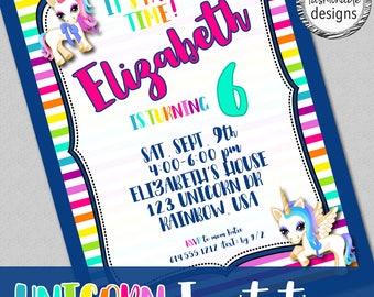 Customized Unicorn Invitation, Unicorn Birthday, JPG file