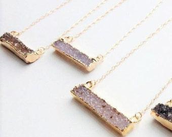 Druzy Bar, Druzy Pendant Necklace, Gold Filled Chain, Druzy Bar Pendant Necklace, Light Blue Druzy Bar