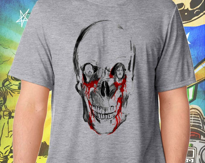 The Walking Dead / Rick Grimes / Daryl Dixon / Sitting in a Walker Skull / Men's Zombie Gray Performance T-Shirt