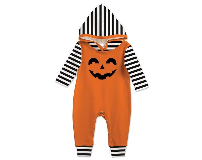 Baby Halloween Hooded Romper Black and Orange Pumpkin, Baby Unisex Costume Black and White, Jack O' Lantern, Tesababe 81HOEIBSBK4C