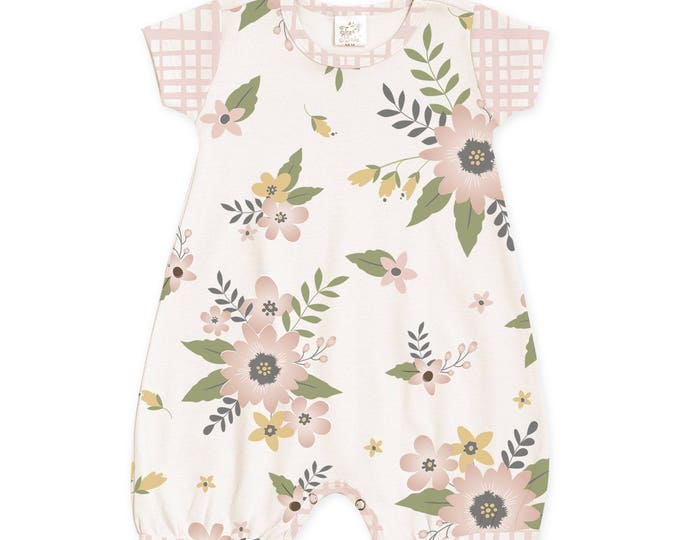 Newborn Girl Coming Home Outfit Summer, Baby Girl Outfit Summer, Baby Short Sleeve Romper, Pink Floral Baby Romper