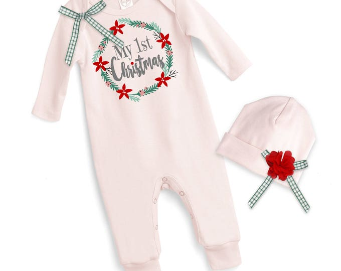 Newborn My First Christmas Romper Pink, Baby Girl Christmas Bodysuit, Baby Girl Christmas Bodysuit, 1st Christmas Baby Romper, Tesababe 81BH