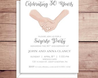 Anniversary Party Invitations - Engagement Party - Surprise Party Invitations - Anniversary - Holding Hands Invitation