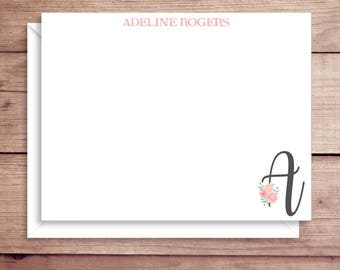 Flat Note Cards - Rose Initial Note Cards - Floral Thank You Cards- Personalized Floral Initial Stationery - Floral Initial Note Cards