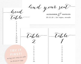 Printable seating chart, wedding seating chart template, seating chart sign, seating chart cards, seating chart printable, seating plan