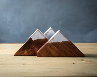 Wood Mountain Art, Rustic Home Decor, Snow Capped Mountains, Cabin Decor, Shelf Sitter, Rustic Wood Art, Wood Mountain Block, Home Decor