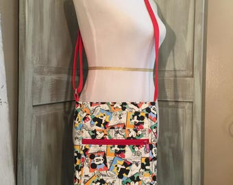 Mickey and Minnie Mouse Two-Zip Hipster with an Adjustable Strap in Red