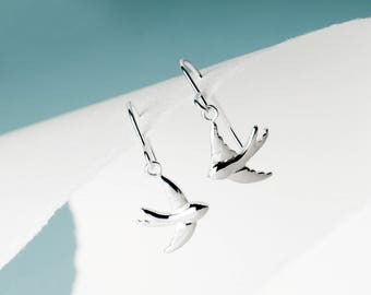Flying Swallow Drop Earrings , Sterling Silver, Gift for Her, Minimal earrings, Statement earrings, Dainty earrings, Nature Inspired