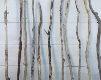 """XLong Driftwood Pole - 1 Straightish Driftwood Rod 4-6 Foot x 1.25-1.5""""- Driftwood Curtain Rod - Clothes Hanger - Clothes Display"""