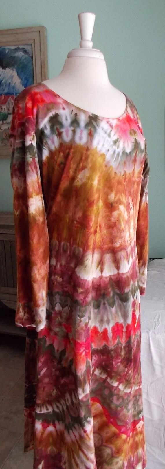 XL Long-sleeve Ice dye tie dye Dress