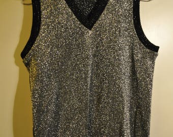 Vintage 70s vest  Silver Lurex v neck  Sleeveless womens top Size S small  36-38