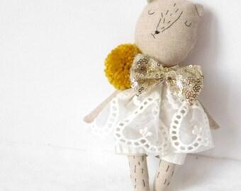 Linen Teddy bear | Dressup doll | Fabric doll | Heirloom doll | Peggy