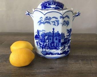 Vintage Blue and White Porcelain Jar, Seymour Mann China Blue | porcelain biscuit jar, blue transferware, storage jar, kitchen canister