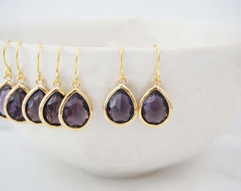 Dark Purple Gem Teardrop Earrings