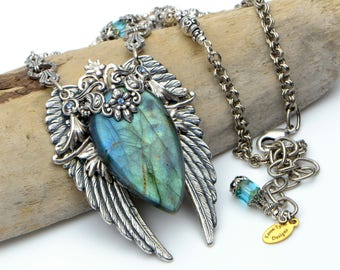 Angel Wings Statement Necklace Silver With Blue Green Labradorite Gemstone Pendant. Unique Handmade Jewelry Gift For Wife Girlfriend or Mom