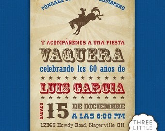 Spanish Cowboy Invitation - Fiesta Vaquera Invitacion en Español
