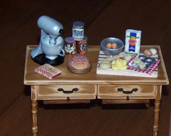 1:12t Dollhouse Kitchen Baking Scene.  Rustic Farmhouse.  Everything Included.
