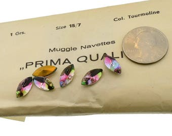 Iris Sapphire Rose Tourmaline Glass Navette 15x7mm Cab Top Pointed Foil Back Rhinestones Made in West Germany Lot of 6 Pieces Special Effect