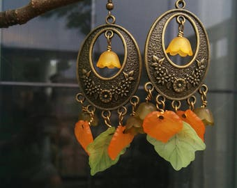 Antique Brass Earrings with Leaves and Flowers