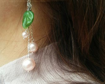 Pink Pearls and a Leaf