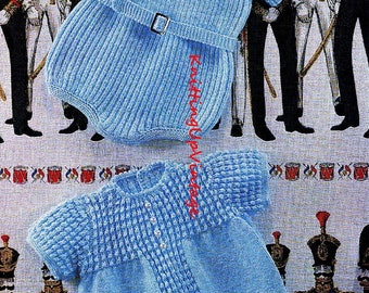 Baby Knitting Pattern pdf 2 Baby Romper Suits Ribbed and Patterned  4 ply