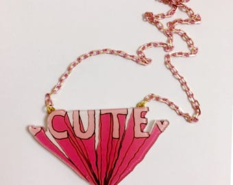 Cute Pink Pop Art style, Kitsch Collar necklace, Pink Heart, Trendy, Girly necklace