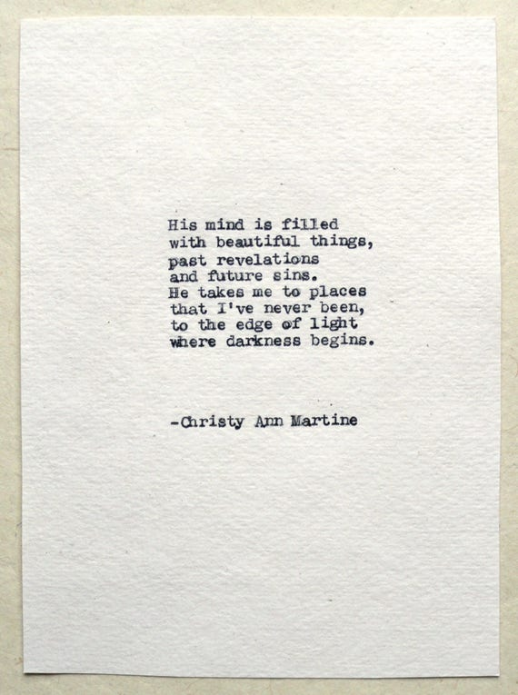 Romantic Gift for Him - Beautiful Things Poem Hand Typed by Author - His Mind is Filled with Beautiful Things Gifts for Boyfriend or Husband