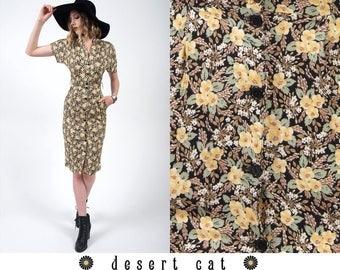 vintage 90s dress vintage 1990s black and yellow floral sun dress vintage boho bohemian 90s grunge floral summer dress