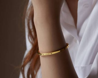 Coordinates Bracelet • Latitude Longitude Bracelet • Coordinates Jewelry • Coordinates Bangle in Sterling Silver CCB11