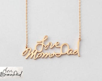 Actual handwritten necklace MEDIUM SIZE • Gold handwriting necklace • Remembrance gift • Bereavement gift • Memorial gift CHN11