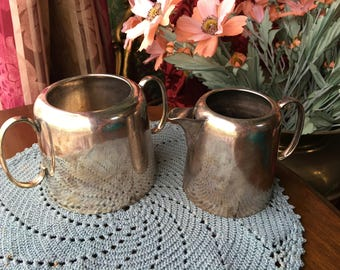 Unique Vintage English Antique Creamer and Sugar Bowl Serving Set Made by W. R. H.  & Co. of Sheffield England Old Electroplate Silver Metal